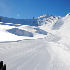 Groomed slopes in Ischgl. Photo taken Nov. 13, 2012