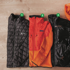 Mens Puffy Jackets: 1) Oakley Unification Down Jacket; 2) Patagonia Nano Puff® Hybrid Jacket; 3) Helly Hansen Odin Isolator Jacket; 4) Odin Hooded Belay Jacket