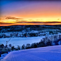 A breathtaking sunset over Garrett County from the slopes. Photo Courtesy of Wisp Resort.
