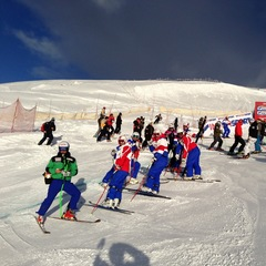Racers and ski team members prepare the Lake Louise course prior to the first North American stop on the World Cup tour.