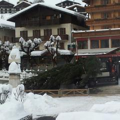 Snow-clad village of Le Grand Bornand. Dec. 13, 2012