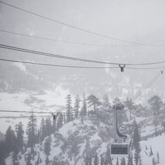 New snow at Squaw Valley covers the aerial tram.