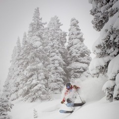 Bo Jacobs skis in Vail on Sunday.  Vail opened almost all of the front side of the mountain.