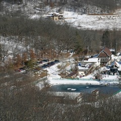 An overhead of the base area at Tyrol Basin.