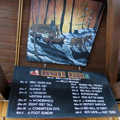 A list of upcoming events at the Bunyan Room, complete with an original Paul Bunyan painting.