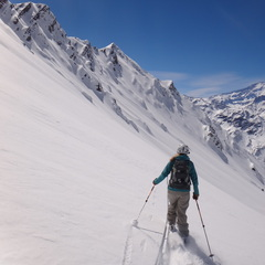 Traversing to get the goods at Valle Nevado.