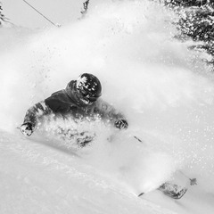 Rachael Burkes enjoying fresh powder.
