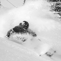 Rachael Burkes enjoying fresh powder. - ©Liam Doran