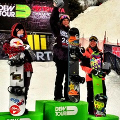 Spencer O'Brien taking the win at Dew Tour in Snowbasin last year. Enni Rukajrvi on the left