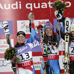 Le podium : Gut, Maze, Mancuso / Super-g dames / Mondiaux de Schladming 2013 - ©Christophe Pallot / Agence Zoom