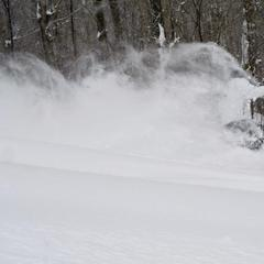 Dry, blower pow at Mont Sutton in Quebec.