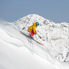 Caroline Gleich takes a lap at Snowbird while testing powder skis.