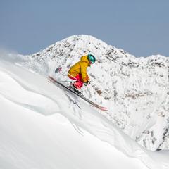 Caroline Gleich takes a lap at Snowbird while testing powder skis. - ©Liam Doran