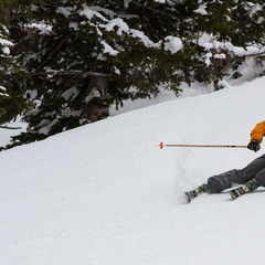 Erik Schlopy getting low at Snowbird for the 2013/2014 Ski Test.