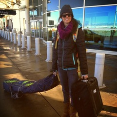 Meg at Denver International Airport, ready for her British Columbia catskiing trip. - ©Kolby Ward