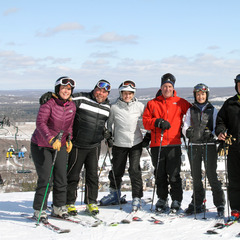 A group gathers at the top of Boyne Mountain Resort in Boyne Falls, Michigan.
