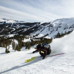 There is plenty of great groomed terrain for intermediate and beginner skiers alike. Skier: Herb Manning