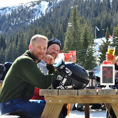 Johansson family from Sweden enjoy open air seating in a Kvitfjell slopeside restaurant.