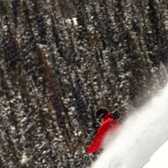 Steve Banks skis a steep line at Irwin Cat Skiing.