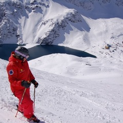 Portillo (and Aspen) ski instructor Cindy Leuchtenburg on the Roca Jack run. A five-person poma, the only one of its kind, whisksand I mean literally whisksskiers up the slope.