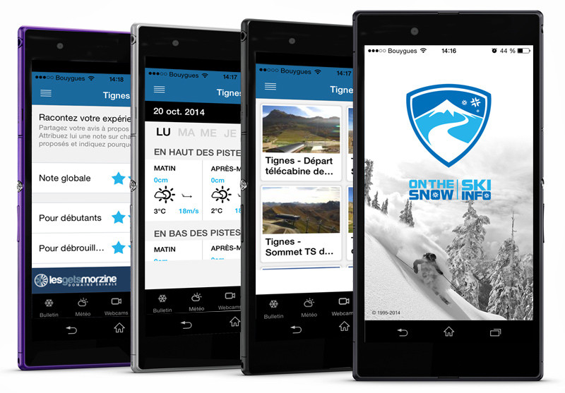 Ecrans de l'application Skiinfo Ski & Neige