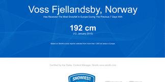 Snowiest resort of the week: Na čele rebríčka opäť nórske strediská ©Skiinfo