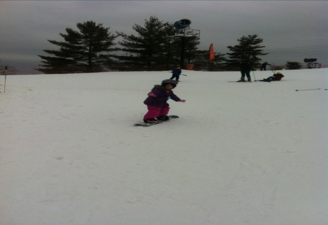 Great day at the Peaks despite the rain. Snow was great for my little one!