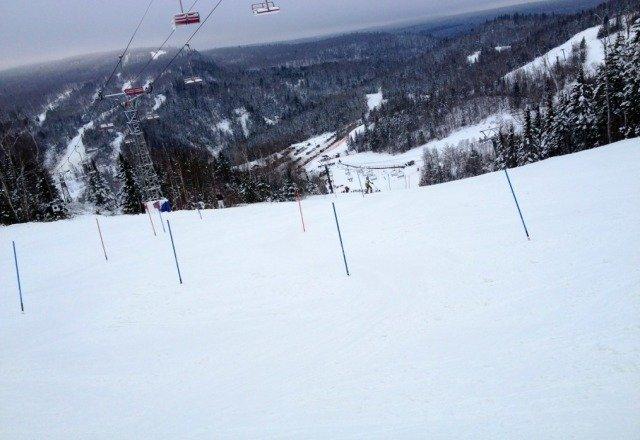 Had a high school ski meet yesterday, good conditions