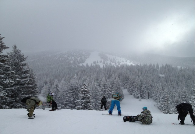 still snowing today. very nice; about 3 inches of fresh powder everywhere.