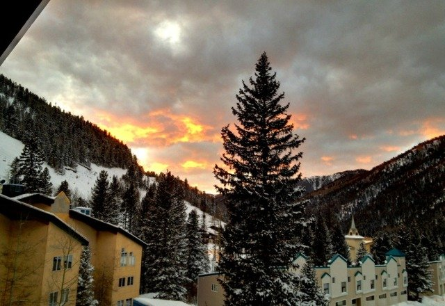 sunset at taos. expecting more snow tonight. more terrain to open tommorow. good times