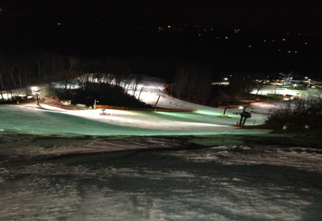 night ski 2/5/13. rained all night. bare spots becoming more prominent. slushy conditions to say the least. could have been worse though. this weekend should get better with snow forecast and snow making temps back in the area.