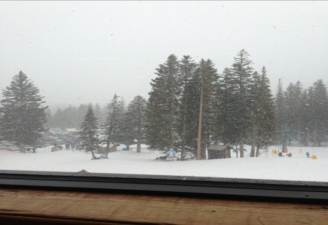 snowing hard up here