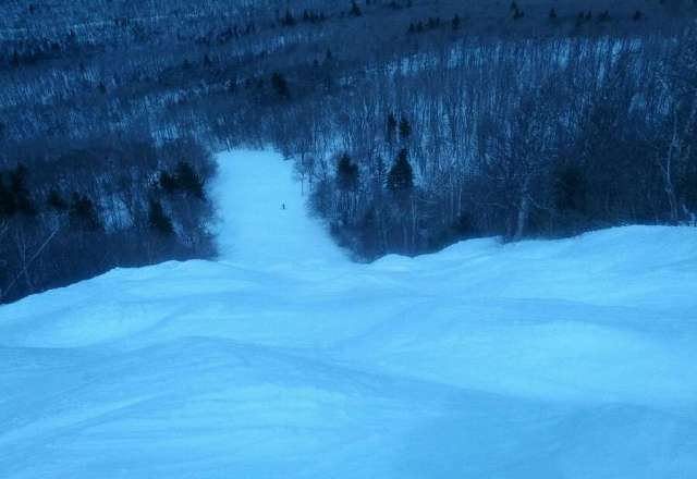 Ripcord was a bit icy but skiable. Here's a pic from the top.