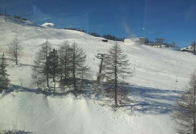 excellent snow on most slopes.With clear blue sky.great skiing.