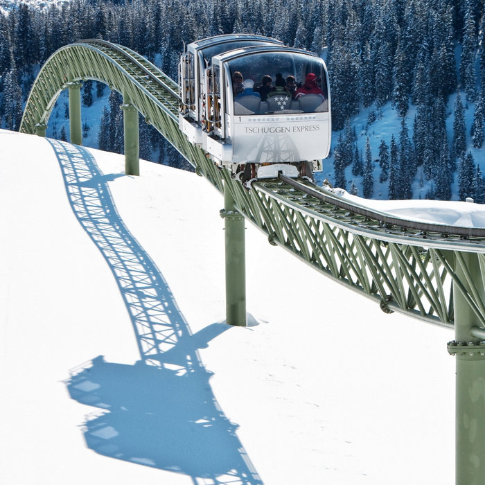 The Tschuggen Express: private ski lift in the Swiss resort of Arosa - © Tschuggen Hotel Group AG