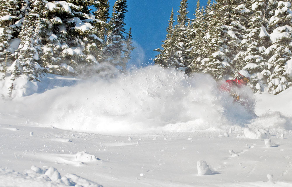 Sunshine Village can have powder and sunshine. Photo by Shawn Alain, courtesy of Ski Big Three.