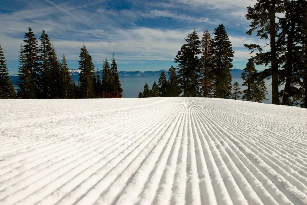 A closeup view of a freshly groomed run at Homewood Mountain, California