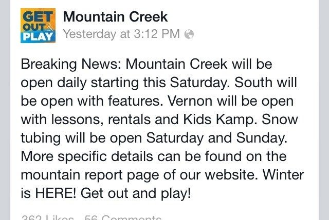 Creek opens full time on Saturday!