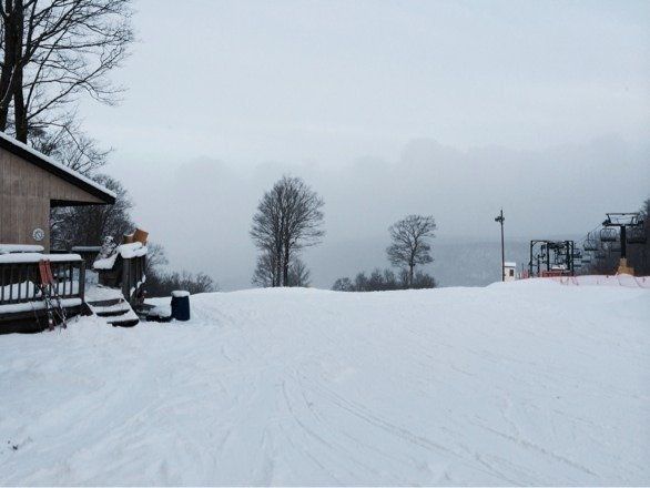 They are making snow and it has been snowing all day. Had the hill to myself!