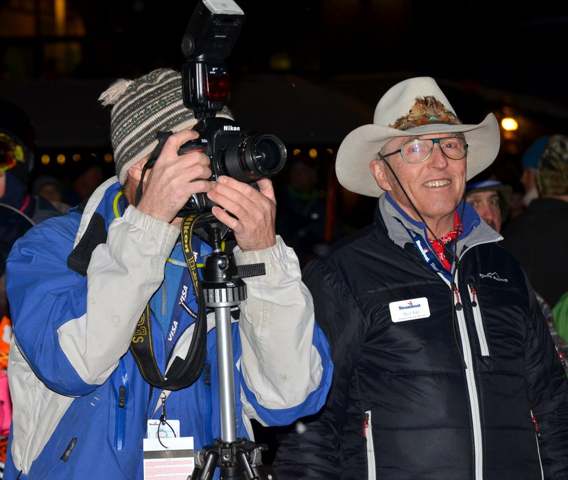 Olympian Billy Kidd watches the night skiing festivities with photographer John Russell. - © Photos courtesy Shannon Lukens.