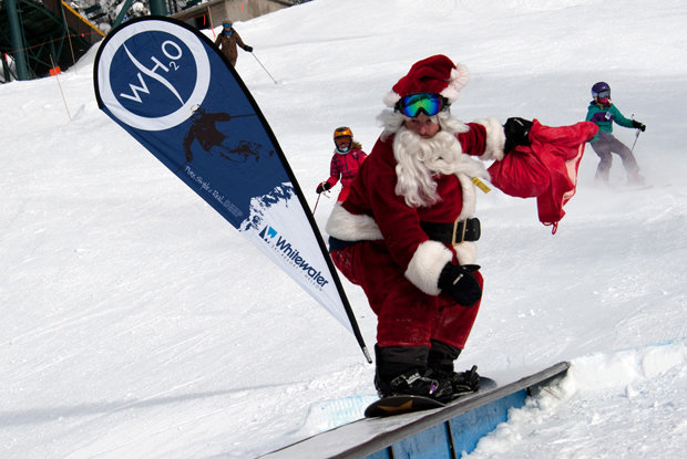 Santa struts his stuff in the park at Whitewater in BC, Canada. - ©Phil Best
