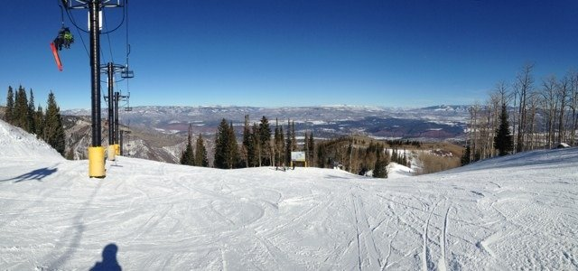 Lots of people out. Beautiful day but we could use some powder.
