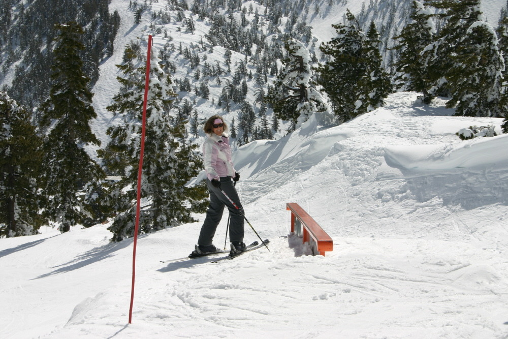A skier takes in the views at Mt. Baldy Ski Resort, California