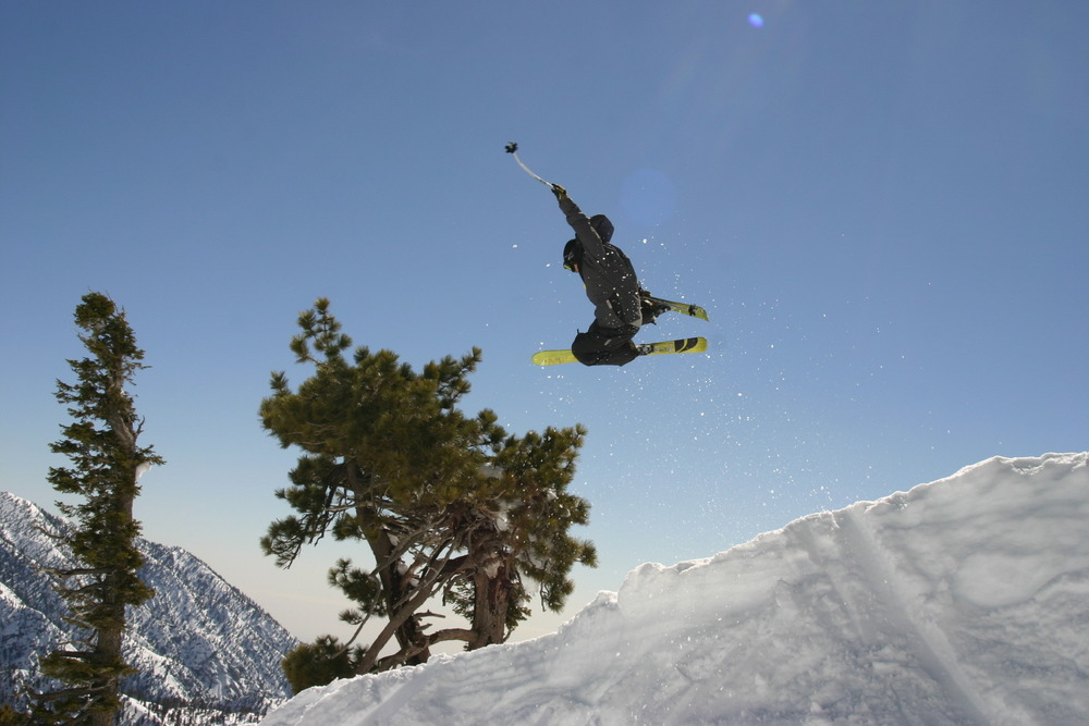 A skier gets air in the terrain park at Mt. Baldy Ski Resort, California