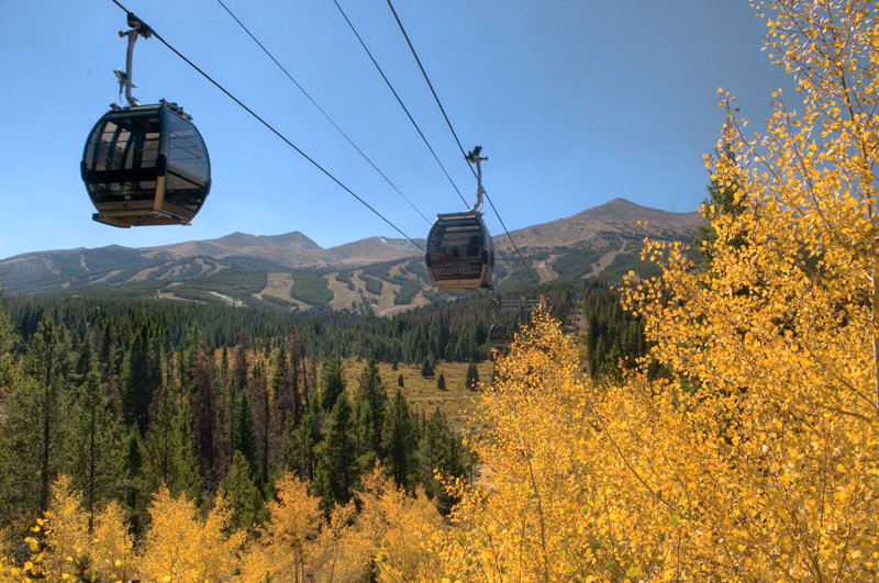 The Gondola passing over Aspens in the fall. Photo courtesy Breckenridge Ski Resort