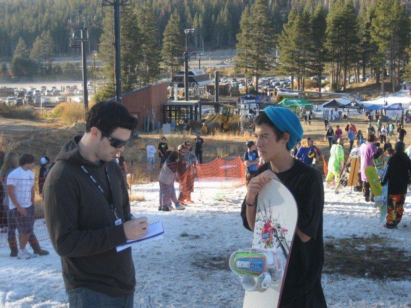 Paul Doherty interviews snowboarder at Boreal's Jibassic Pro Invitational 4.