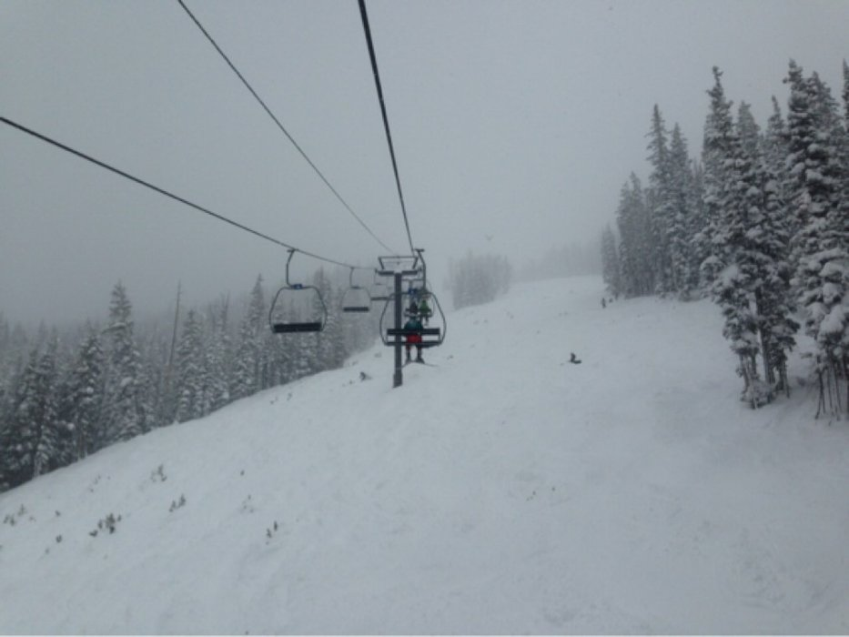 12-16in more like it! The resolution bowl was amazing all day with insane pow!
