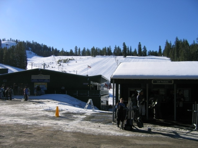 A view up the hill at Dodge Ridge Ski Area, California