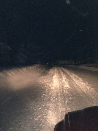 Holy making tracks on lac la belle road batman!!  Wed night on the way in. Gonna be sick tomorrow!!!