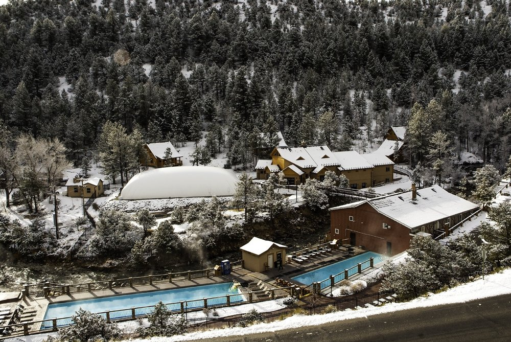 Relaxing in the soaking pool of the Mount Princeton Hot Springs adds an extra bonus to your Monarch winter adventure weekend.  - © Mount Princeton Hot Springs